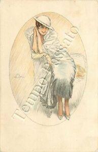 Donna con cappello bianco - 1918 / illustratore Terzi