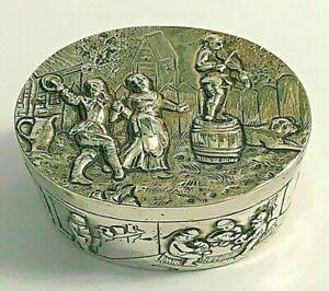 Antique 800 Silver German Germany Snuff Pill Ornate Trinket Box 50g