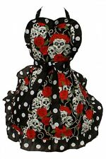 Hemet Skulls and Roses Full Bib Cooking Apron 50's pinup kitsch craft Housewife
