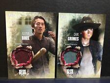 The Walking Dead Season 5 Glenn Rhee Carl Grimes Authentic Shirt Relic Card Rar