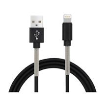 schnell Ladekabel für iPhone 5, 6, 7, 8, X iPad USB Metalldraht 2A NEU schwarz