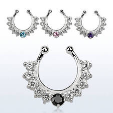 18G Septum Clicker Colored Crystal Spike Nose Bull Ring Piercing Hanger Jewelry