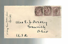 1908 Kandy England Queens Hotel cover to Cranville Ohio Usa Railway Po Rpo