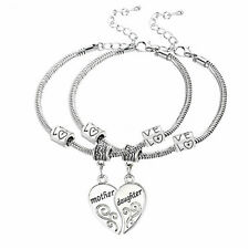 Pair Mother And Daughter Love Heart Matching Bracelets Bangles Gift To Mum Li