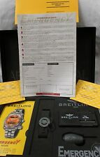 BREITLING Emergency Complete Box Open/Blank Forms Cert & Papers Set NOS no watch