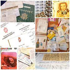Huge Vintage UniqueJunk Journal Ephemera Lot Book Pages Maps Postcards Letters