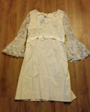 Antique / Vintage Pale Yellow / Cream California Crepe Dress with Lace Sleeves