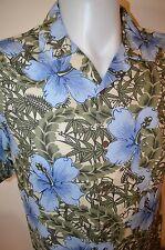 Ocean Pacific OP Aloha Surf Floral Viscose Rayon Button Up Hawaiian Mens L Shirt