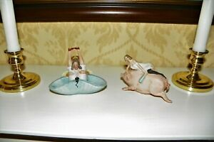 2 NAUGHTY MINIATURE BISQUE FIGURINES:BATHING BEAUTY RIDING PIG & WOMAN W/LEGS UP