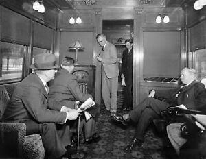 "Men on a Train Vintage Old Photo 8.5"" x 11"" Reprint"