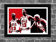 Chicago Bulls Michael Jordan Scottie Pippen Dennis Rodman Sports Print Art 17x11