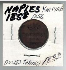 1858 Naples Italy 2 Tornesi Coin KM 145E