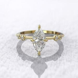 1CT Marquise Cut Diamond Solitaire Anniversary Ring 14KT Yellow Gold Finish