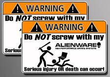 Alienware WARNING sticker Gaming computer laptop decal