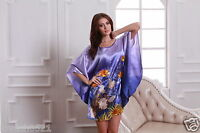 Blue Sleepwear Robes Bat shirt New Satin Pyjama Nightdress Negligee Nightwear