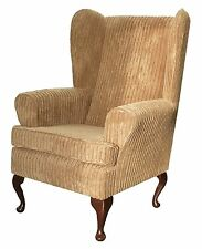 FIRESIDE WING BACK QUEEN ANNE CHAIR LUXURY BROWN JUMBO CORD FABRIC