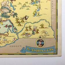 Ruth Taylor ORIGINAL Cartoon Map WASHINGTON Seattle FORKS Mariners SEAHAWKS 1935