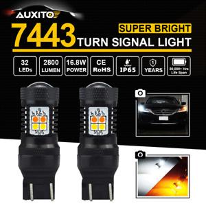 2X White Amber 7443 7444 LED Turn Signal Light Reverse DRL Bulbs Switchback Lamp