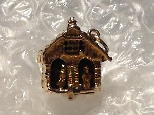 9ct YELLOW GOLD WEATHER HOUSE CHARM - Ref 1401.13