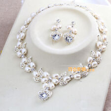 Luxury Rhinestone Bridal Jewelry Wedding Accessory Pearl Necklace Earrings Set