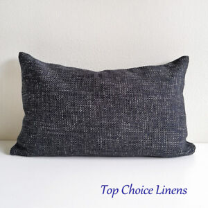 32 x 50cm Quality Home Decor Rustic Weave Dark Charcoal Cushion Cover Oblong