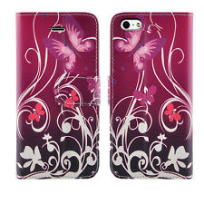 Leather Luxury Wallet Book Flip Phone Protect Case for Apple iPhone 6 6s Purple Shade - Flower Butterfly Butterflies Plum