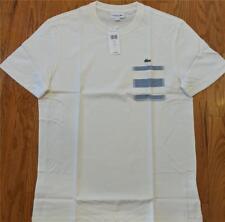 Mens Authentic Lacoste Striped Pocket T-Shirt Flour/Light Blue 8 3XL $70