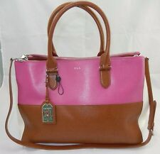 LAUREN Ralph Lauren Newbury Double Zip Satchel Pink Tan $298