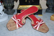 ANN TAYLOR LOFT RED AND PINK LEATHER MEDIUM HEEL WOMEN'S SANDAL SHOES SIZE 5 M