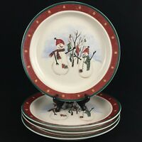Set of 4 VTG Dinner Plates by Royal Seasons Stoneware Snowmen RN2 Christmas