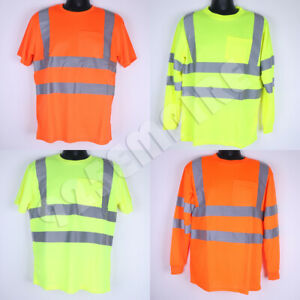 Work Hi Vis T-Shirt/Long Sleeve High Visibility Reflective Safety Class 3