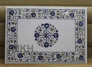 Coffee Table Top Rectangle Lapis Lazuli Inlay Art Mosaic Rare Mid Century Design