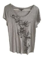 Simply Vera Wang Womens Short Sleeved Top Size:L Gray Floral