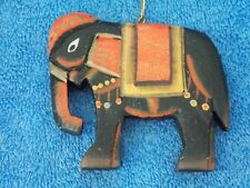 Wood 2 sided Elephant Christmas Ornament