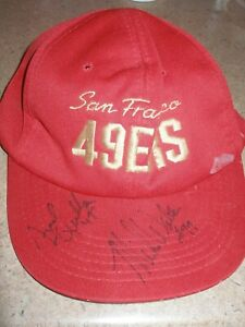 Autographed San Francisco 49ers Hat - Fred Quillan Center (d'16) Mike Walter LB