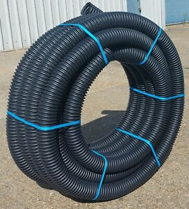 Perforated Land Drain Pipe 80mm x 25 meter Coil Land Drainage 25m Flexible Black