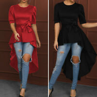 Women Short Sleeve Long Top High Low Shirt Holiday Party Casual Blouse Plus Size