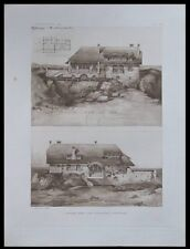 COTTAGE IN OUESSANT BRITTANY - 1911 HELIOGRAVURE - ARCHITECTURE, FRANCE,