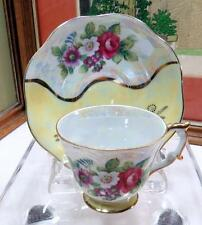 "VINTAGE NORCREST JAPAN YELLOW LUSTERWARE AND FLORAL  2 1/8"" CUP & SAUCER SET"