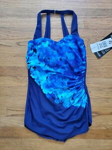 NWT Miraclesuit One-Piece Swimsuit Blue Floral Size 12