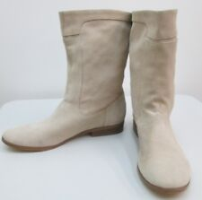 Calvin Klein Clarisa Light Beige Leather Suede Mid Calf Boots Shoes SZ 9 NEW