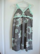 MEXX Grey Floral Dress with Aqua Blue Trim Girl Size 6 NWT - Spring Summer