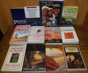 Lot of 12 Christian Softcover Books of Prayer, Forgiveness, Bible Study & more