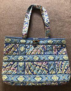 Vera Bradley Capri Blue Tic Tac Toe Shoulder Bag Tote Bag Purse Good Condition