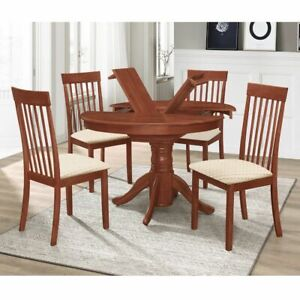 Home Mahogany Drop Leaf Dining Set with 4 Chairs Foldable