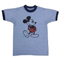 Vintage DISNEY Mickey Mouse Single Stitch Ringer Tshirt 70 80s Blue Medium 50/50