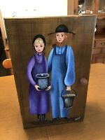 Vintage Wood Wooden Folk Art Hand Painted Amish Medicine Curio Cabinet Painting