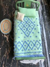 American Girl Kit Doll Green Metal Day Bed Floral Tufted Bedding Set Pillow