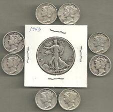 Walking Liberty Half & Mercury Dimes - 90% Silver - Us Coin Lot - 9 Coins #4677