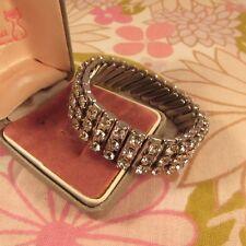 Vintage 1960s/70s Made in Japan 3 Row Silvertone & Diamante Expandable Bracelet